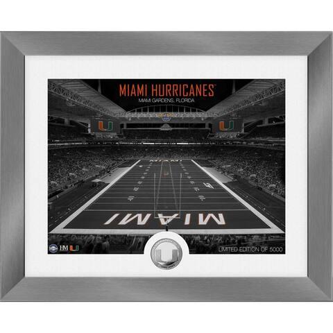 Miami Hurricanes Art Deco Stadium Silver Coin Photo Mint - 13X16