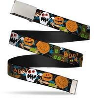 """Blank Chrome 1.0"""" Buckle Scooby Doo Halloween2 Ghosts Boo! Webbing Web Belt 1.0"""" Wide"""