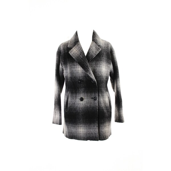 Wildflower Black White Double-Breasted Plaid Peacoat S