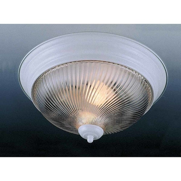 "Volume Lighting V7711 1-Light 11"" Flush Mount Ceiling Fixture with Clear Swirl Ribbed Glass Shade - White"
