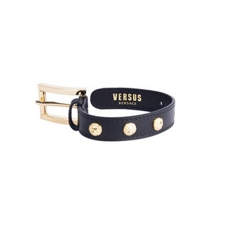 Versus Versace Gold Lion Head Leather Buckled Wristband - S