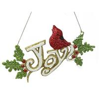"""6.25"""" Merry & Bright White  Green and Red Glitter """"Joy"""" Inspirational Christmas Ornament"""