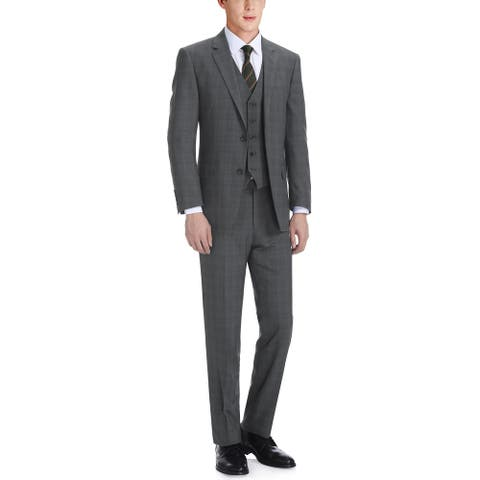 Men's 3-Piece Classic Fit Single Breasted Windowpane Suit