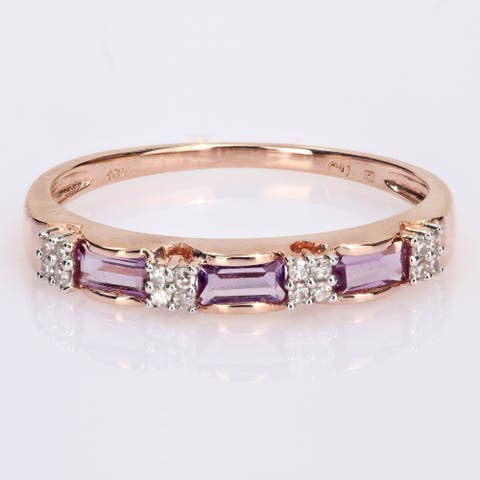 Miadora 10k Rose Gold Baguette-cut Amethyst and Diamond Accent Stackable Eternity Wedding Band Ring