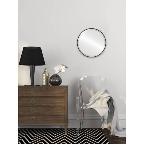Singapore Framed Round Mirror - Rubbed Black - Rubbed Black