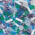 Toho Multi-Shape Glass Beads 'Fuji' White/Green/Blue/Purple Color Mix 8 Gram Tube - Thumbnail 0