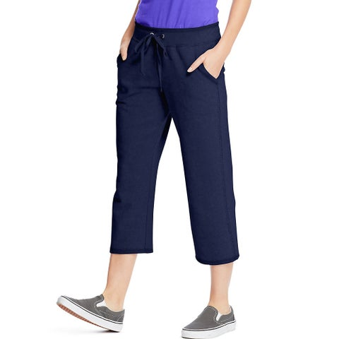 Hanes Women's French Terry Pocket Capri - Size - XL - Color - Navy
