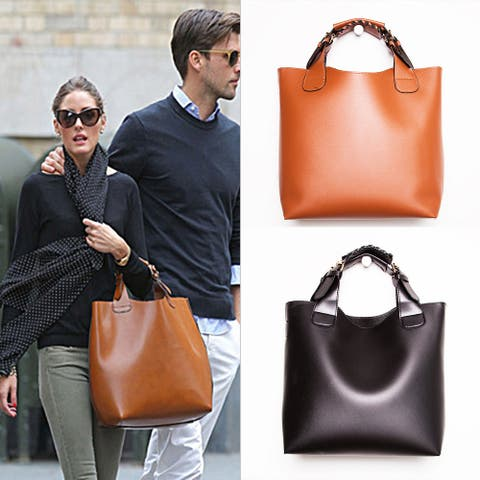 Classic Convertible Tote Bag With Woven Handles