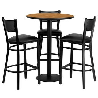 "Dyersburg 4pcs Table Set Round 30"" Natural Laminate, Black Vinyl Barstool"