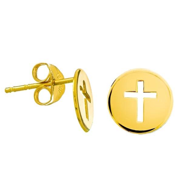 039392f4f2a5 Shop Amanda Rose Mini Disc Cut-Out Cross Stud Earrings in 14k Yellow ...