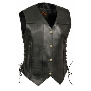 Womens Leather 6 Pocket Side Lace Vest