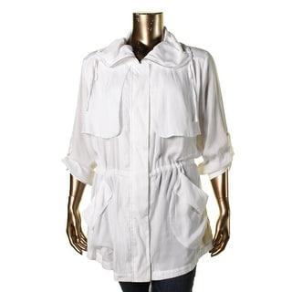 Vince Camuto Womens Anorak Jacket Adjustable Sleeves Cinch Waist
