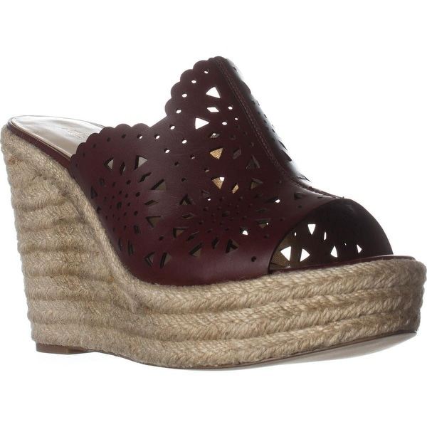 Nine West Derek Wedge Scalloped Sandals, Cognac