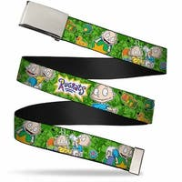 Blank Chrome Buckle Rugrats Tommy & Dill Poses Greens Webbing Web Belt