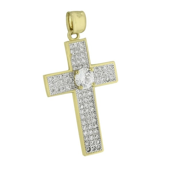 Solitaire Round Cut Cross Pendant Iced Out 10K Yellow Gold Lab Diamonds