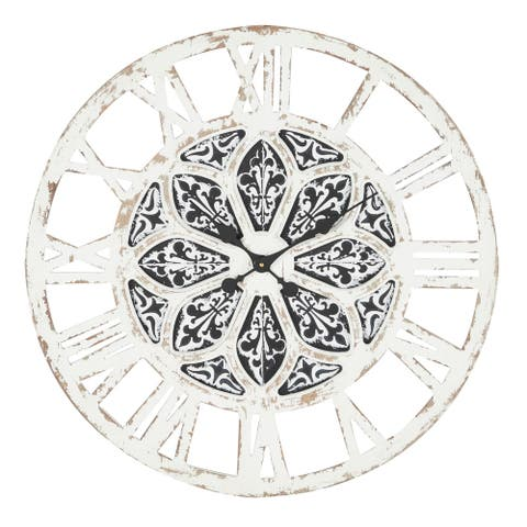 """Large Round Distressed White Wood Wall Clock With Black Patterned Center Detail, 28"""" X 28"""" - 28 x 1 x 28Round"""