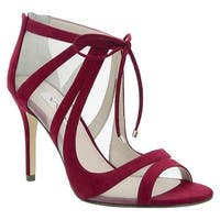 Nina Women's Cherie Peep-Toe Bootie Cranberry Glam Suede/Champagne Mesh