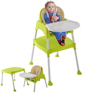 Costway Green 3 in 1 Baby High Chair Convertible Table Seat Booster Toddler Feeding Highchair