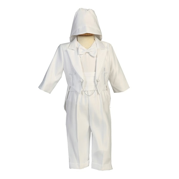 6d98efa96588 Shop Lito Baby Boys White Embroidered Cross Round Tail Satin Tuxedo Suit -  Free Shipping Today - Overstock - 28295125