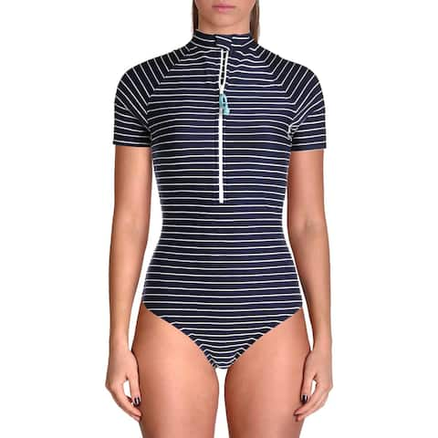 Shoshanna Womens Striped Short Sleeves One-Piece Swimsuit