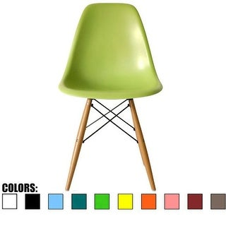2xhome Green - Eames Style Molded Bedroom & Dining Room Side Ray Chair with Natural Wood Eiffel Legs Base
