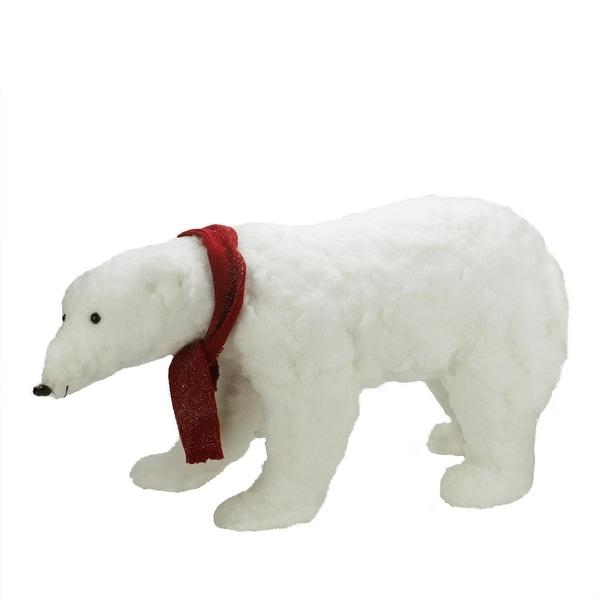 "30"" Commercial Walking Plush White Polar Bear Christmas Decoration"