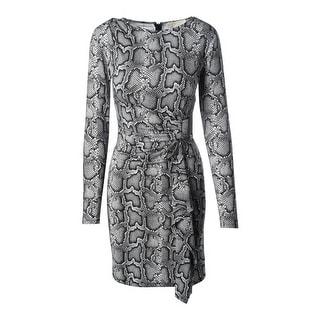 MICHAEL Michael Kors Womens Matte Jersey Snake Print Wear to Work Dress