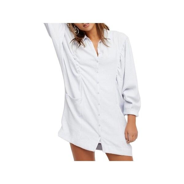 Free People Womens Fade Away Shirtdress Oversized Mini