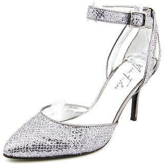 Marc Fisher Hein6 Women Pointed Toe Canvas Silver Heels