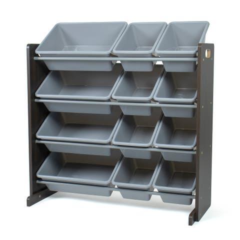 Humble Crew Sumatra Toy Storage Organizer with 12 Storage Bins, Espresso/Grey - N/A