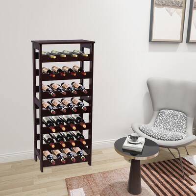 7 Tier Table Top Wine Storage Rack Display Shelves 28 Bottles Capacity