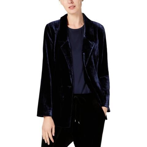 Eileen Fisher Womens Blazer Velvet Silk - Midnight - XXS