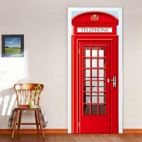 Walplus Peel and Stick UK Telephone Booth Door Mural Home Decor DIY