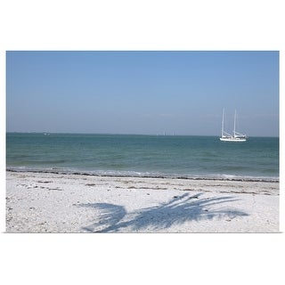 """Beach and sailboat"" Poster Print"