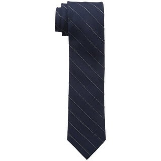 Calvin Klein NEW Blue Midnight Gold Pinstripe Skinny Neck Tie Accessory