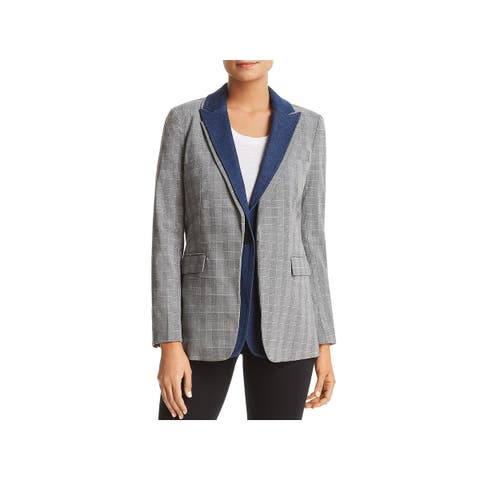 Kenneth Cole Womens Double Standard One-Button Blazer Check Print Suit Separate