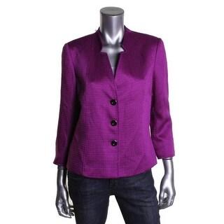 Tahari Womens Greg Textured 3/4 Sleeves Collarless Blazer - 6