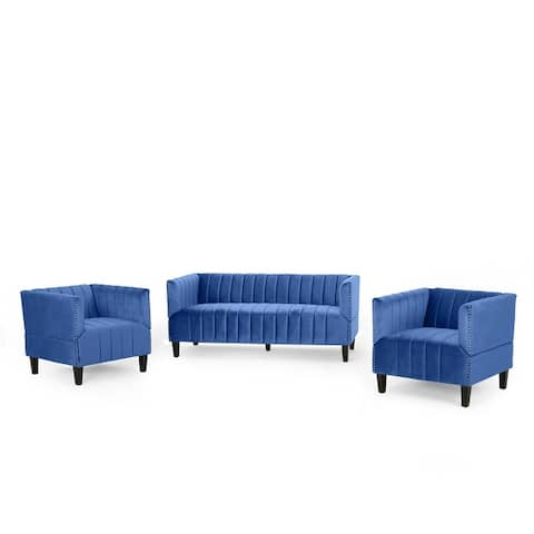Weymouth Contemporary Channel Stitch Velvet Sofa and Club Chair Set by Christopher Knight Home