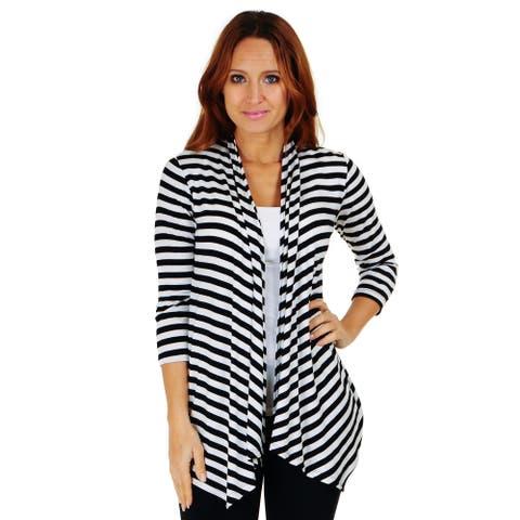 Simply Ravishing 3/4 Sleeve Stripe Open Drape Cardigan (Size: S-3X)