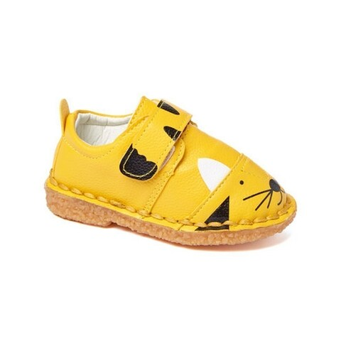 Little Girls Boys Yellow Black Cat Face Motif Strap Sneakers 5-10 Toddler