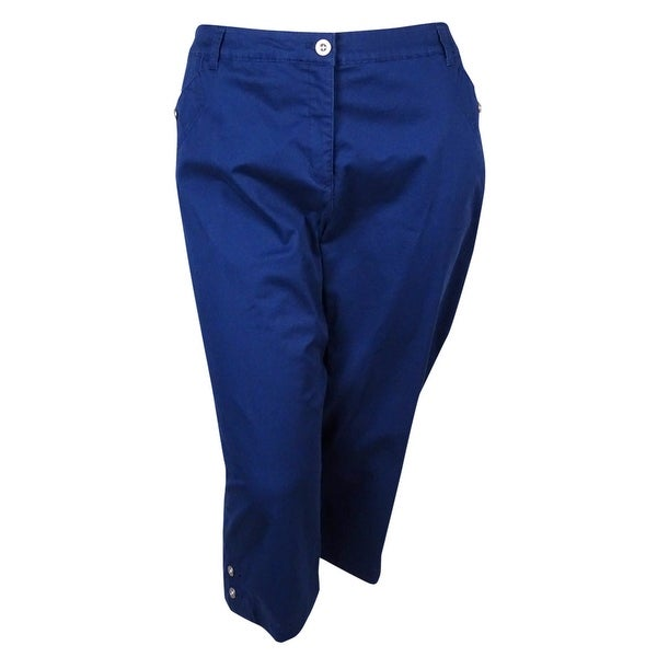 Karen Scott Women's Twill Cropped Capri Pants - 24W