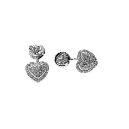 925 Sterling Silver Heart Stud Earrings with Cubic Zirconia