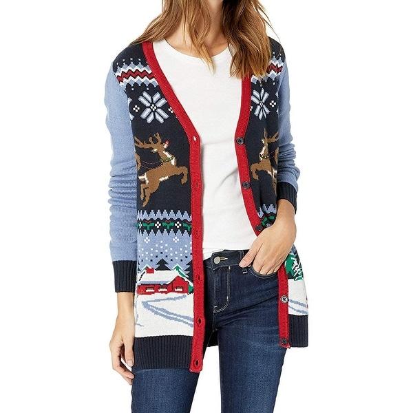 Fair Isle Christmas Sweater.Ugly Christmas Sweater Womens Sweater Blue Small S Cardigan Fair Isle
