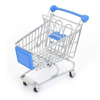 Utility Mini Shopping Cart Supermarket Handcart Model Storage Case Blue