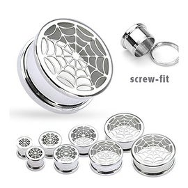 "Surgical Steel Hollow Spider-Web Screw Fit Tunnel Up to 2"" (Sold Individually)"