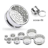 """Surgical Steel Hollow Spider-Web Screw Fit Tunnel Up to 2"""" (Sold Individually)"""