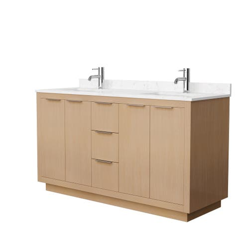 Maroni 60-Inch Light Straw Double Vanity, Cultured Marble Top