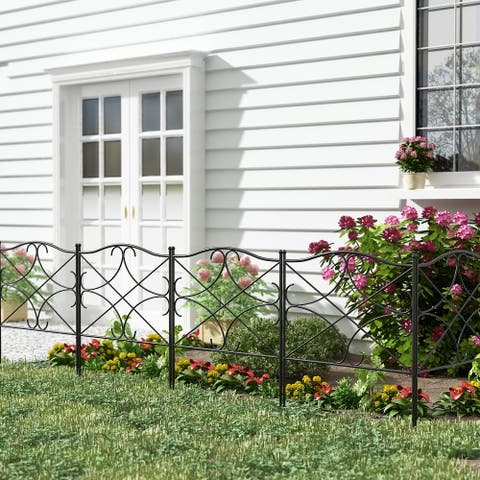 5PCS Decorative Garden Fence Feet Outdoor Metal Wire Fence