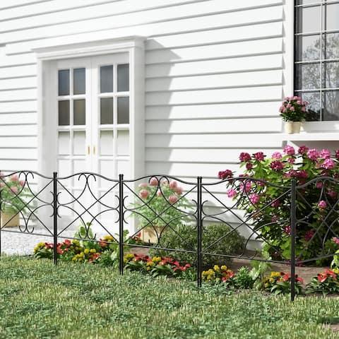 Outdoor Coated Metal Rustproof Garden Fence (Set of 5)