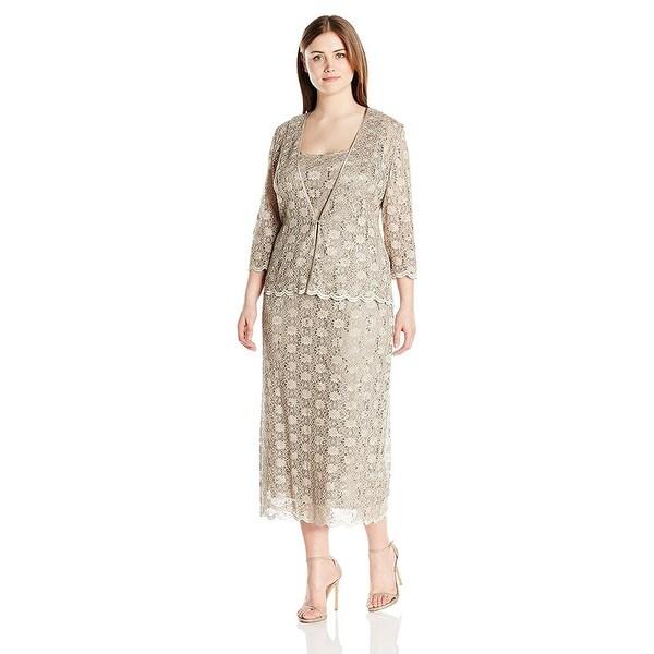 239860c28ca Shop R M Richards Plus Size Lace Dress and Jacket Set - 20W - Free ...